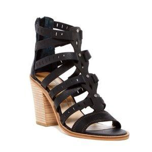 NEW Dolce Vita Black Lain Block Heel Sandal Size 8